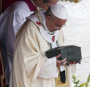 Pope Francis with the Bones of St. Peter